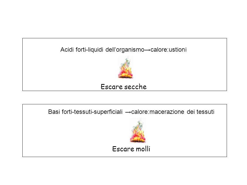 Acidi forti-liquidi dell'organismo→calore:ustioni Escare secche Basi forti-tessuti-superficiali →calore:macerazione dei tessuti Escare molli