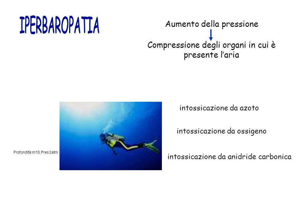 Aumento della pressione Compressione degli organi in cui è presente l'aria Profondità:m10, Pres 2atm intossicazione da azoto intossicazione da ossigen