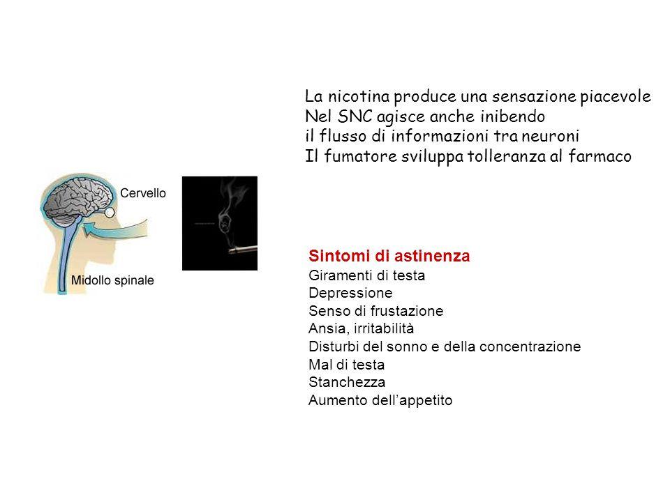 La nicotina produce una sensazione piacevole Nel SNC agisce anche inibendo il flusso di informazioni tra neuroni Il fumatore sviluppa tolleranza al fa