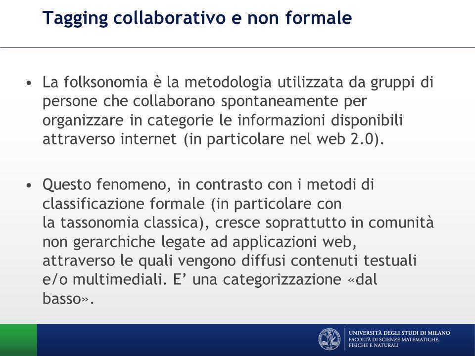 Tagging collaborativo e non formale La folksonomia è la metodologia utilizzata da gruppi di persone che collaborano spontaneamente per organizzare in categorie le informazioni disponibili attraverso internet (in particolare nel web 2.0).