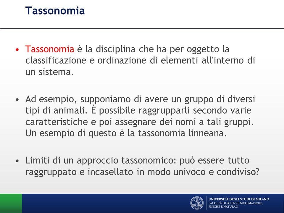 Tassonomia Tassonomia è la disciplina che ha per oggetto la classificazione e ordinazione di elementi all interno di un sistema.