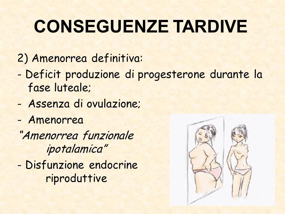 """2) Amenorrea definitiva: - Deficit produzione di progesterone durante la fase luteale; -Assenza di ovulazione; -Amenorrea """"Amenorrea funzionale ipotal"""