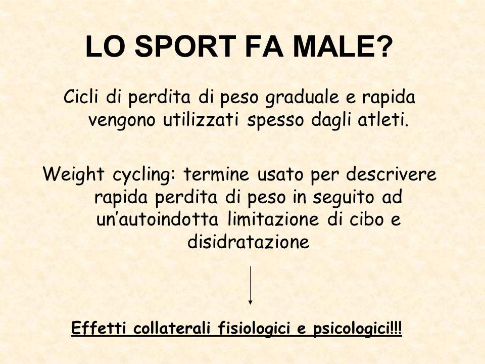 Cicli di perdita di peso graduale e rapida vengono utilizzati spesso dagli atleti. Weight cycling: termine usato per descrivere rapida perdita di peso
