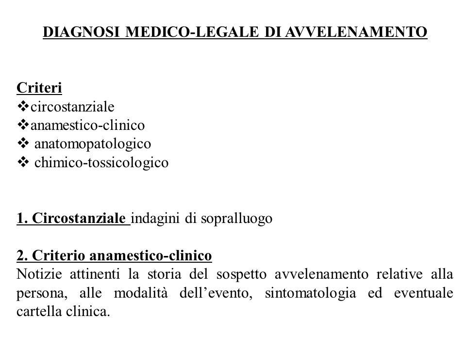 DIAGNOSI MEDICO-LEGALE DI AVVELENAMENTO Criteri  circostanziale  anamestico-clinico  anatomopatologico  chimico-tossicologico 1. Circostanziale in
