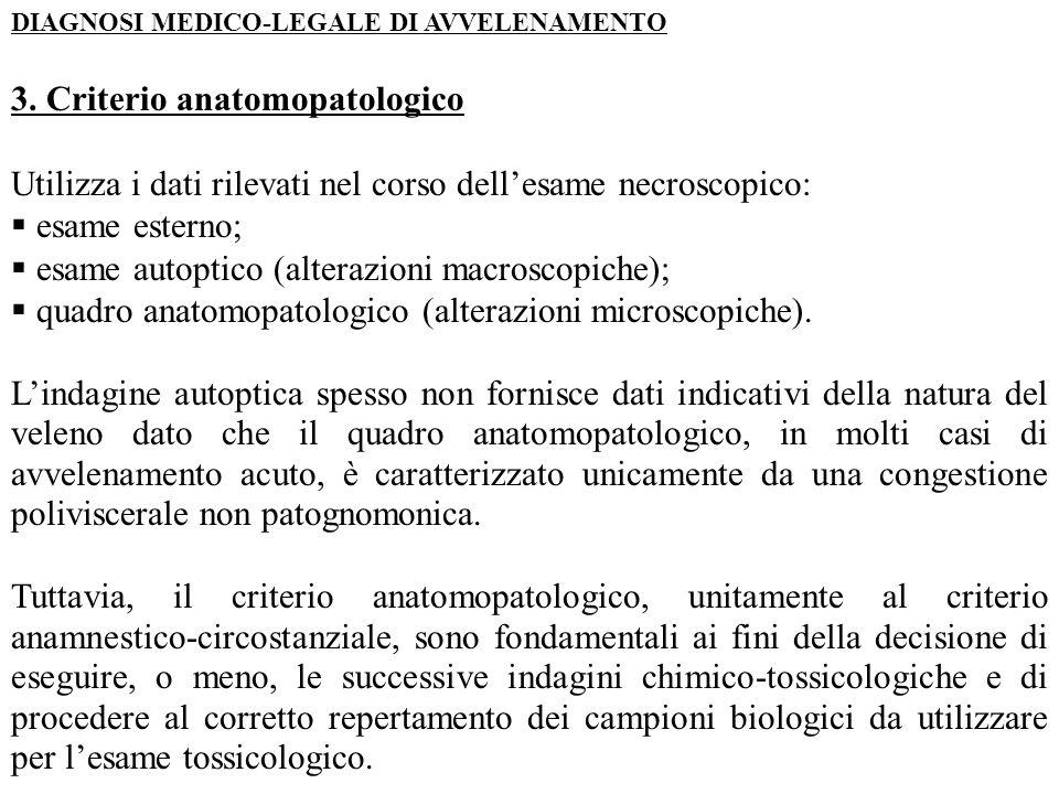 DIAGNOSI MEDICO-LEGALE DI AVVELENAMENTO 3. Criterio anatomopatologico Utilizza i dati rilevati nel corso dell'esame necroscopico:  esame esterno;  e
