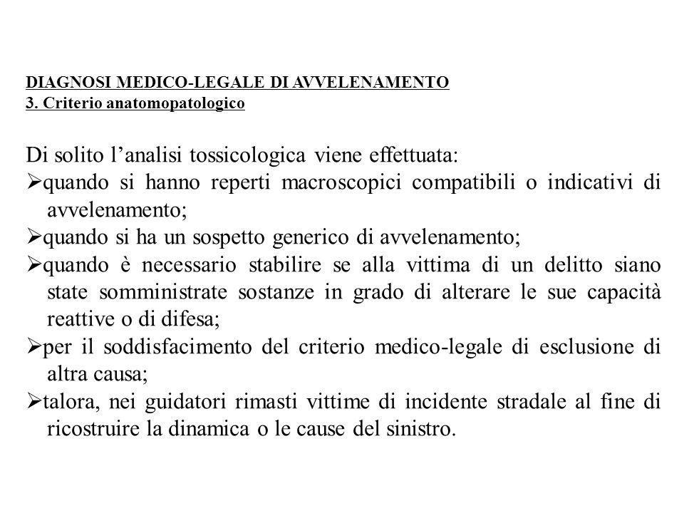 DIAGNOSI MEDICO-LEGALE DI AVVELENAMENTO 3. Criterio anatomopatologico Di solito l'analisi tossicologica viene effettuata:  quando si hanno reperti ma