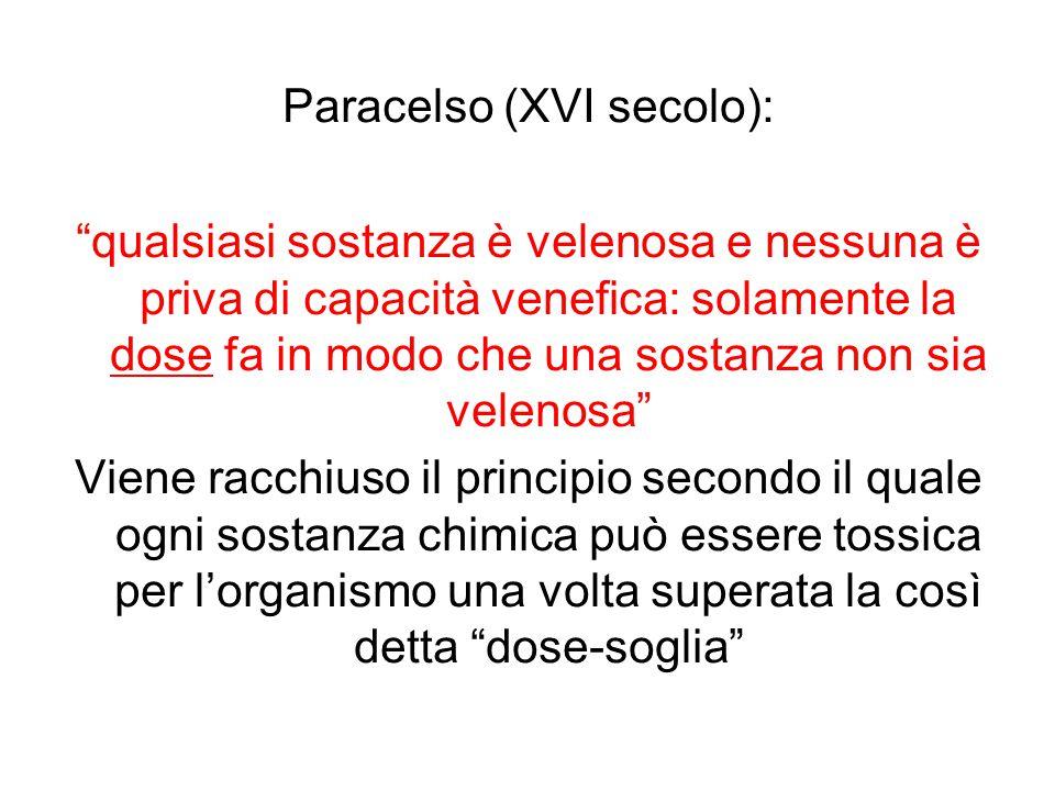 """Paracelso (XVI secolo): """"qualsiasi sostanza è velenosa e nessuna è priva di capacità venefica: solamente la dose fa in modo che una sostanza non sia v"""