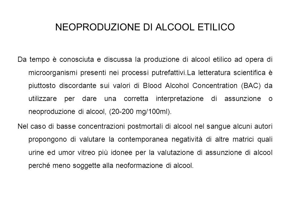 NEOPRODUZIONE DI ALCOOL ETILICO Da tempo è conosciuta e discussa la produzione di alcool etilico ad opera di microorganismi presenti nei processi putr
