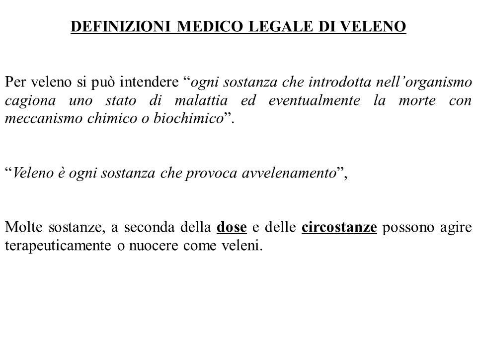 """DEFINIZIONI MEDICO LEGALE DI VELENO Per veleno si può intendere """"ogni sostanza che introdotta nell'organismo cagiona uno stato di malattia ed eventual"""