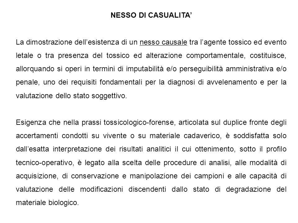 NESSO DI CASUALITA' La dimostrazione dell'esistenza di un nesso causale tra l'agente tossico ed evento letale o tra presenza del tossico ed alterazion