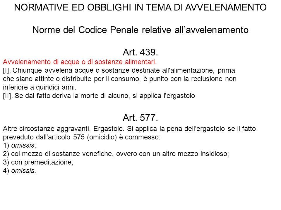 NORMATIVE ED OBBLIGHI IN TEMA DI AVVELENAMENTO Norme del Codice Penale relative all'avvelenamento Art. 439. Avvelenamento di acque o di sostanze alime