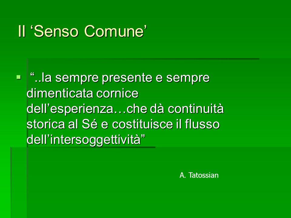Il 'Senso Comune'  ..la sempre presente e sempre dimenticata cornice dell'esperienza…che dà continuità storica al Sé e costituisce il flusso dell'intersoggettività A.