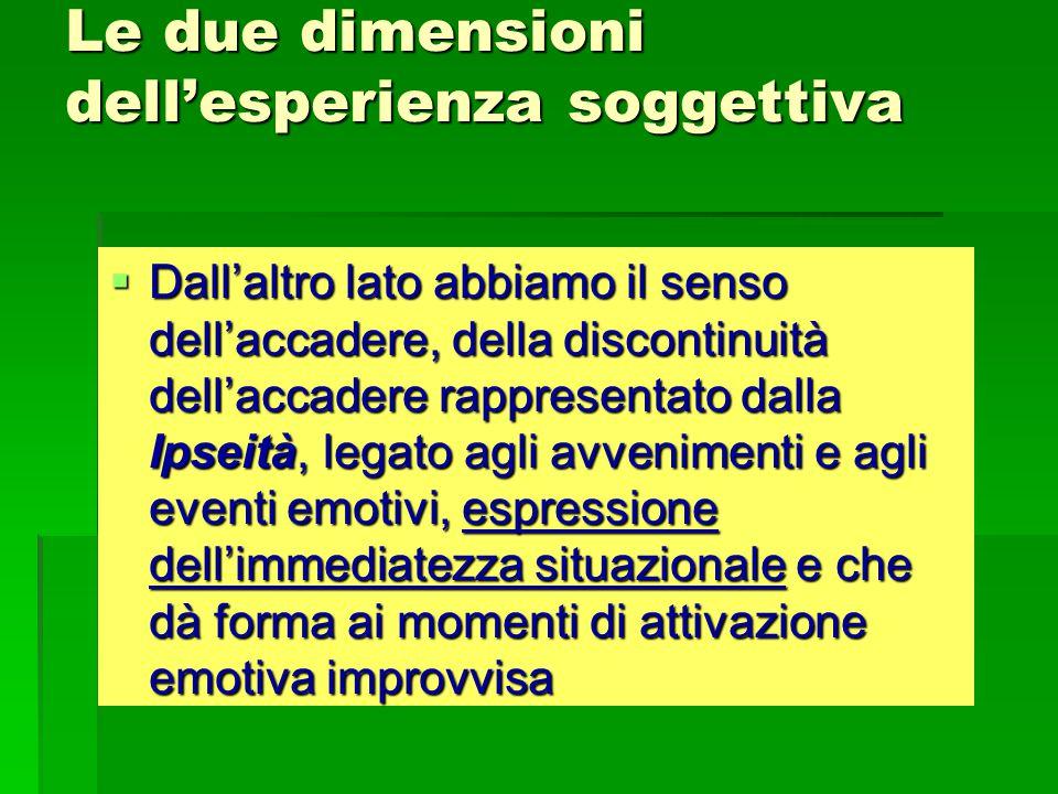 Le due dimensioni dell'esperienza soggettiva  Dall'altro lato abbiamo il senso dell'accadere, della discontinuità dell'accadere rappresentato dalla Ipseità, legato agli avvenimenti e agli eventi emotivi, espressione dell'immediatezza situazionale e che dà forma ai momenti di attivazione emotiva improvvisa