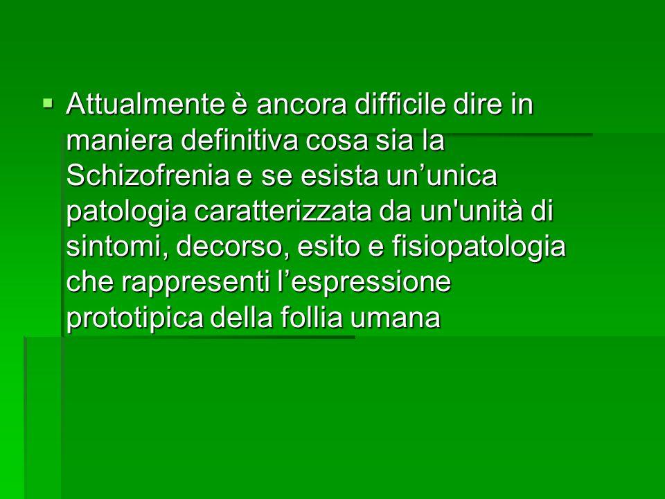  Attualmente è ancora difficile dire in maniera definitiva cosa sia la Schizofrenia e se esista un'unica patologia caratterizzata da un unità di sintomi, decorso, esito e fisiopatologia che rappresenti l'espressione prototipica della follia umana
