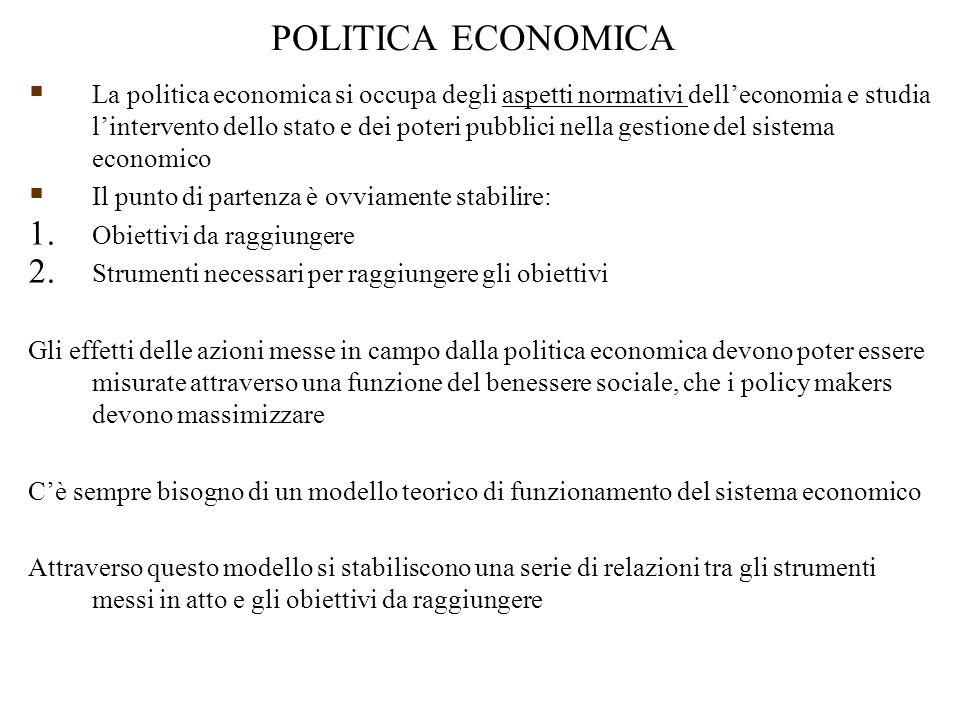 POLITICA ECONOMICA  La politica economica si occupa degli aspetti normativi dell'economia e studia l'intervento dello stato e dei poteri pubblici nella gestione del sistema economico  Il punto di partenza è ovviamente stabilire: 1.