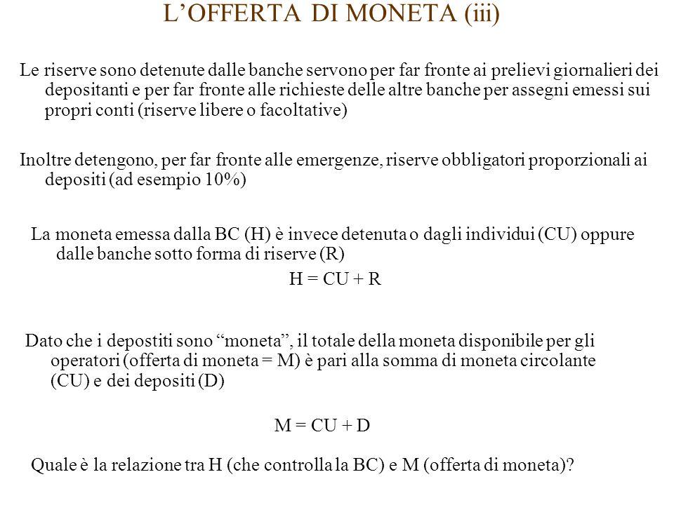 L'OFFERTA DI MONETA (iii) Le riserve sono detenute dalle banche servono per far fronte ai prelievi giornalieri dei depositanti e per far fronte alle richieste delle altre banche per assegni emessi sui propri conti (riserve libere o facoltative) Inoltre detengono, per far fronte alle emergenze, riserve obbligatori proporzionali ai depositi (ad esempio 10%) Dato che i depostiti sono moneta , il totale della moneta disponibile per gli operatori (offerta di moneta = M) è pari alla somma di moneta circolante (CU) e dei depositi (D) M = CU + D La moneta emessa dalla BC (H) è invece detenuta o dagli individui (CU) oppure dalle banche sotto forma di riserve (R) H = CU + R Quale è la relazione tra H (che controlla la BC) e M (offerta di moneta)