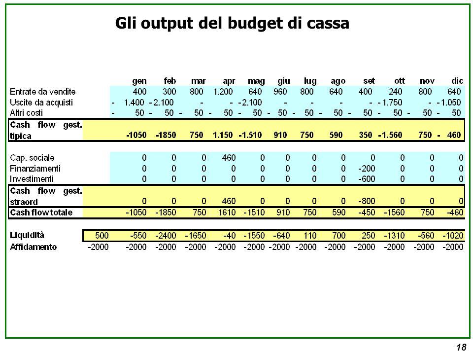 18 Gli output del budget di cassa