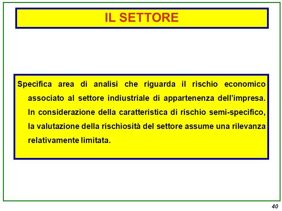 40 Specifica area di analisi che riguarda il rischio economico associato al settore indiustriale di appartenenza dell'impresa.