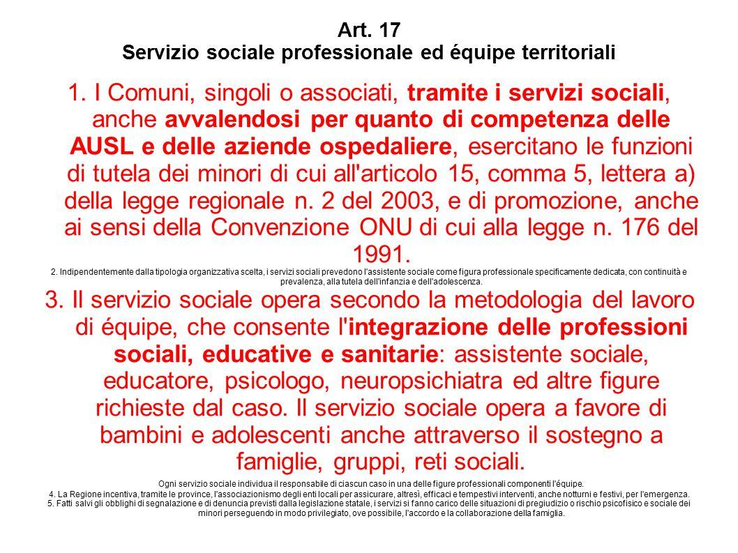 Art. 17 Servizio sociale professionale ed équipe territoriali 1.