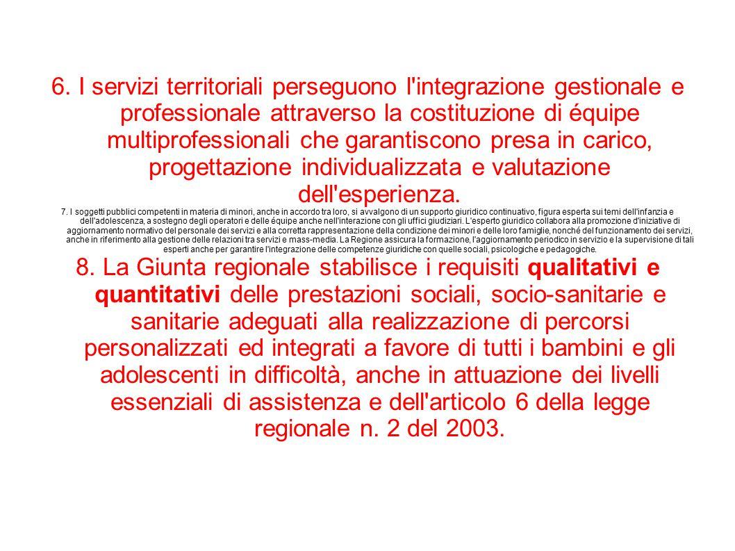 6. I servizi territoriali perseguono l'integrazione gestionale e professionale attraverso la costituzione di équipe multiprofessionali che garantiscon