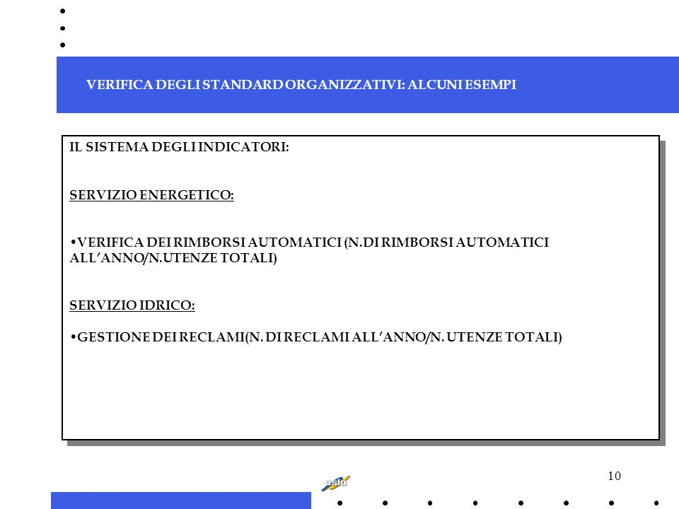 10 IL SISTEMA DEGLI INDICATORI: SERVIZIO ENERGETICO: VERIFICA DEI RIMBORSI AUTOMATICI (N.DI RIMBORSI AUTOMATICI ALL'ANNO/N.UTENZE TOTALI) SERVIZIO IDRICO: GESTIONE DEI RECLAMI(N.