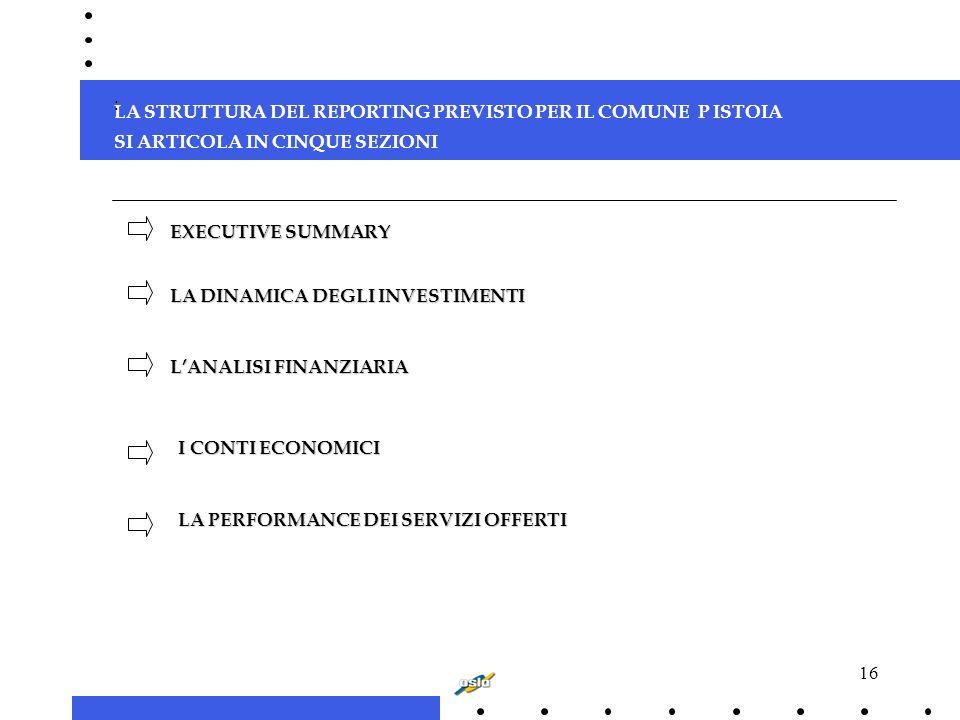16 LA STRUTTURA DEL REPORTING PREVISTO PER IL COMUNE P ISTOIA SI ARTICOLA IN CINQUE SEZIONI : EXECUTIVE SUMMARY L'ANALISI FINANZIARIA LA DINAMICA DEGLI INVESTIMENTI LA PERFORMANCE DEI SERVIZI OFFERTI I CONTI ECONOMICI