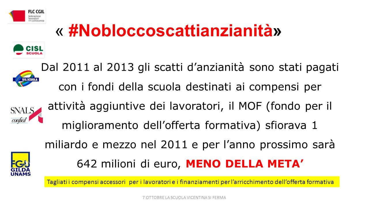 « #Nobloccoscattianzianità» Dal 2011 al 2013 gli scatti d'anzianità sono stati pagati con i fondi della scuola destinati ai compensi per attività aggiuntive dei lavoratori, il MOF (fondo per il miglioramento dell'offerta formativa) sfiorava 1 miliardo e mezzo nel 2011 e per l'anno prossimo sarà 642 milioni di euro, MENO DELLA META' Tagliati i compensi accessori per i lavoratori e i finanziamenti per l'arricchimento dell'offerta formativa 7 OTTOBRE LA SCUOLA VICENTINA SI FERMA