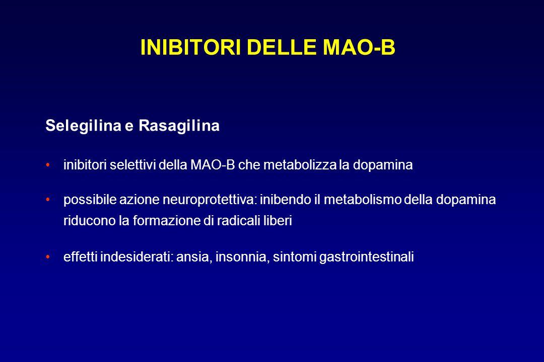 Selegilina e Rasagilina inibitori selettivi della MAO-B che metabolizza la dopamina possibile azione neuroprotettiva: inibendo il metabolismo della do