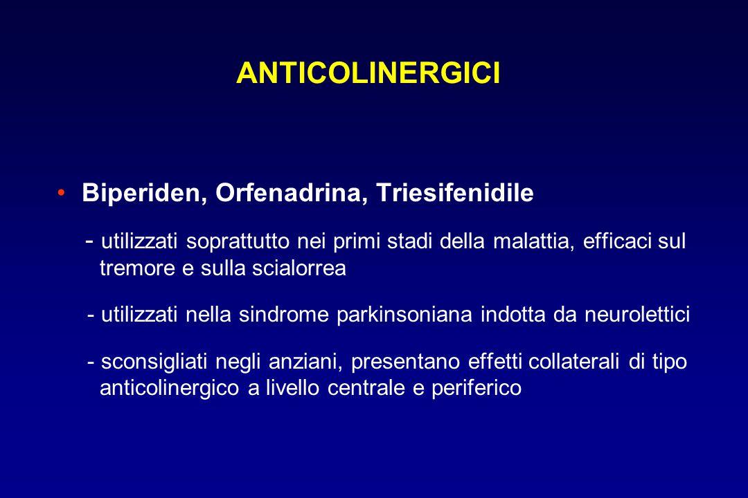 Biperiden, Orfenadrina, Triesifenidile - utilizzati soprattutto nei primi stadi della malattia, efficaci sul tremore e sulla scialorrea - utilizzati n