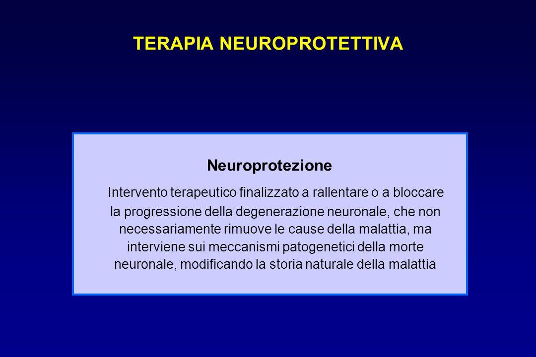TERAPIA NEUROPROTETTIVA Neuroprotezione Intervento terapeutico finalizzato a rallentare o a bloccare la progressione della degenerazione neuronale, ch