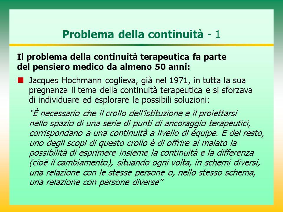 Problema della continuità - 2 Secondo Bachrach (1981), nasce con l'esigenza di organizzare la terapia medica a lungo termine.