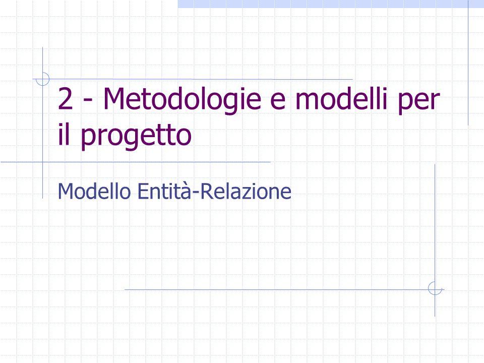 2 - Metodologie e modelli per il progetto Modello Entità-Relazione