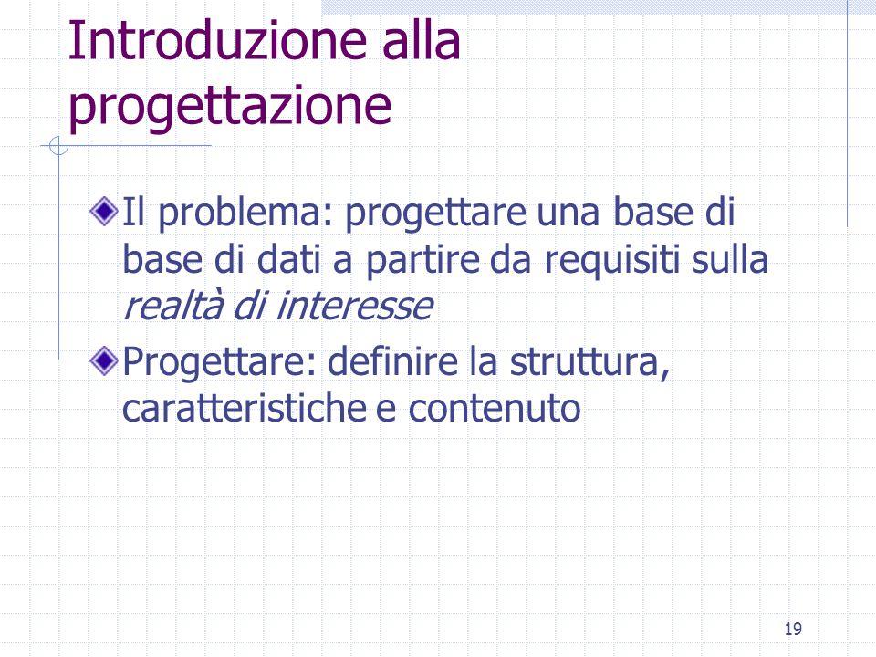 19 Introduzione alla progettazione Il problema: progettare una base di base di dati a partire da requisiti sulla realtà di interesse Progettare: definire la struttura, caratteristiche e contenuto