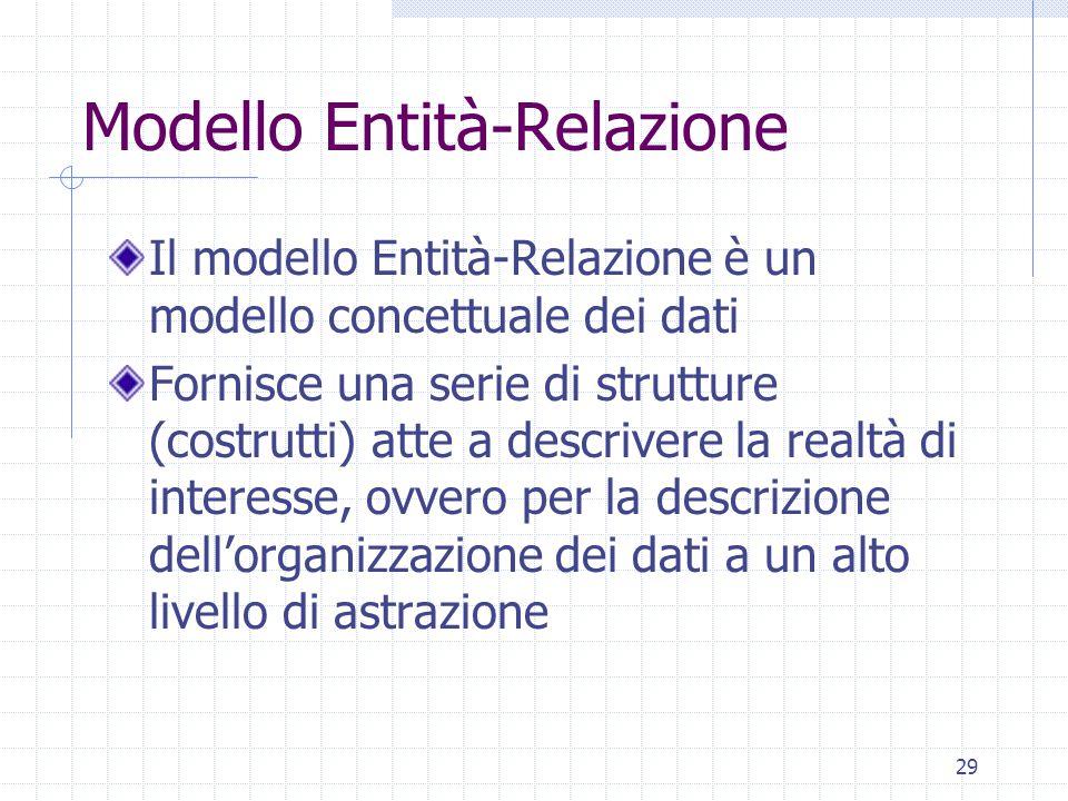29 Modello Entità-Relazione Il modello Entità-Relazione è un modello concettuale dei dati Fornisce una serie di strutture (costrutti) atte a descrivere la realtà di interesse, ovvero per la descrizione dell'organizzazione dei dati a un alto livello di astrazione