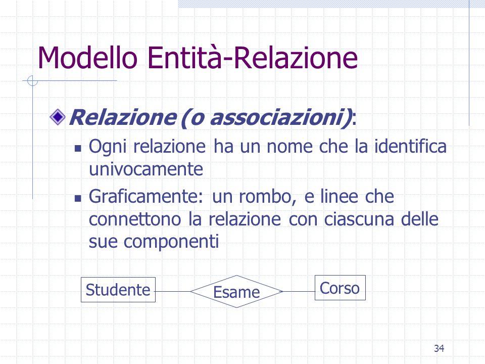 34 Modello Entità-Relazione Relazione (o associazioni): Ogni relazione ha un nome che la identifica univocamente Graficamente: un rombo, e linee che connettono la relazione con ciascuna delle sue componenti Studente Corso Esame