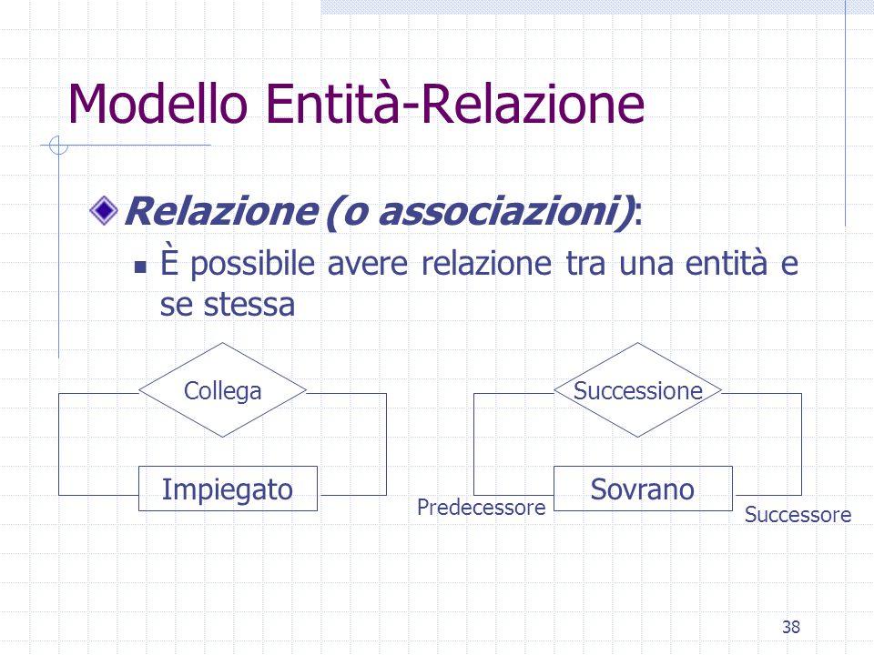 38 Modello Entità-Relazione Relazione (o associazioni): È possibile avere relazione tra una entità e se stessa Impiegato Collega Sovrano Successione Predecessore Successore