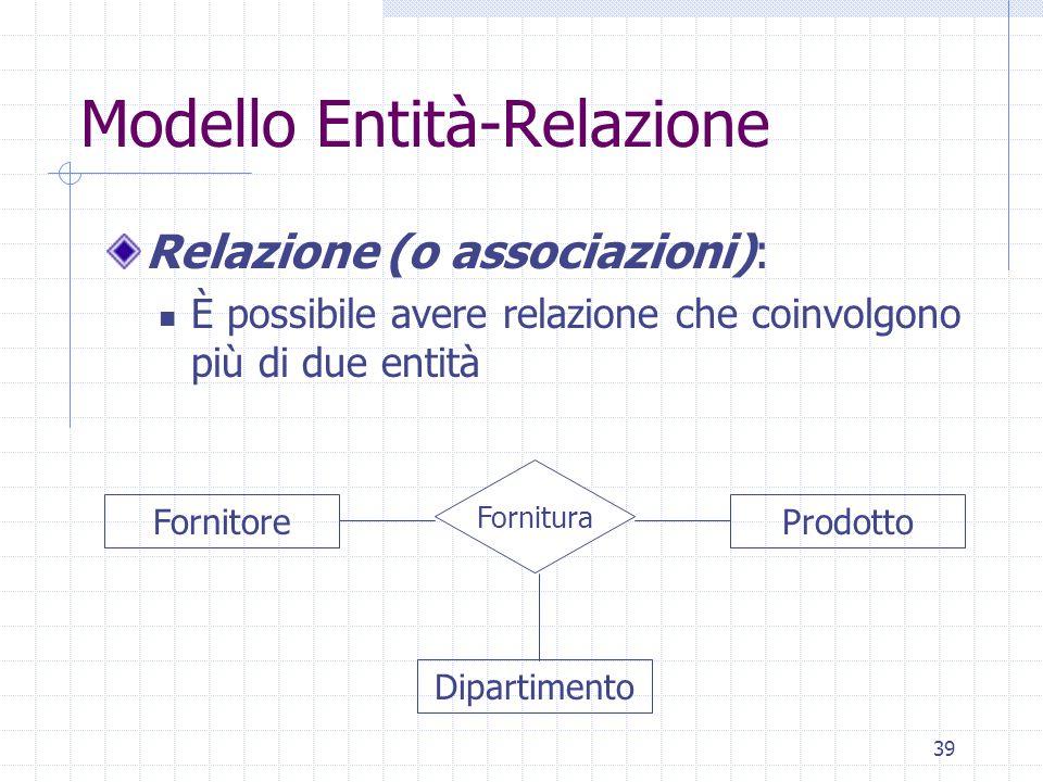 39 Modello Entità-Relazione Relazione (o associazioni): È possibile avere relazione che coinvolgono più di due entità Dipartimento Fornitura ProdottoFornitore