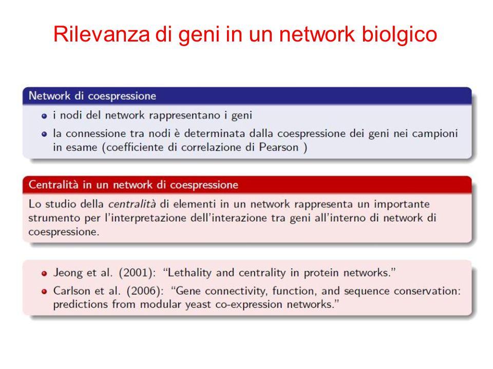 Rilevanza di geni in un network biolgico