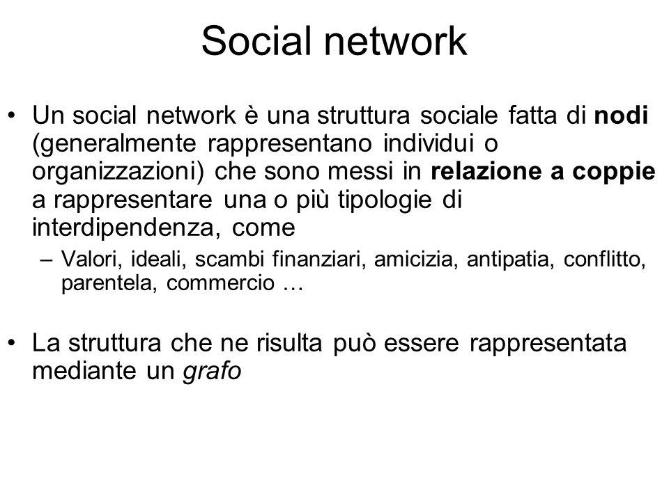 Un social network è una struttura sociale fatta di nodi (generalmente rappresentano individui o organizzazioni) che sono messi in relazione a coppie a