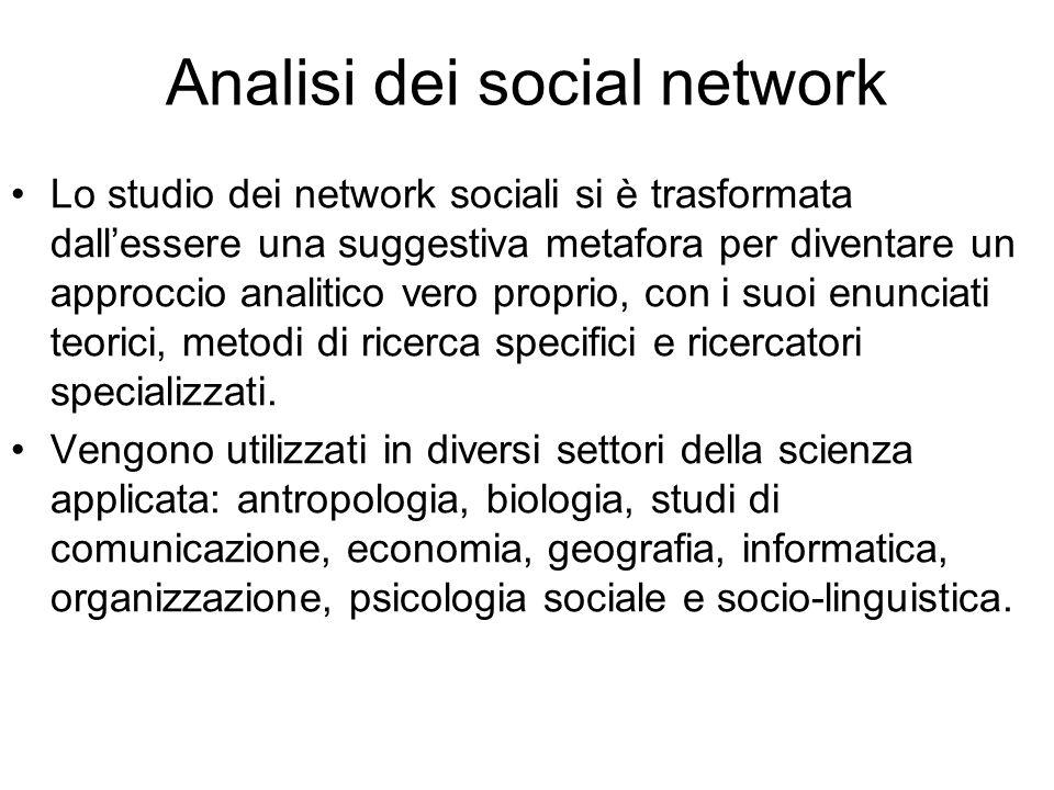 Analisi dei social network Lo studio dei network sociali si è trasformata dall'essere una suggestiva metafora per diventare un approccio analitico ver