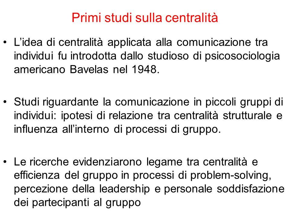 Primi studi sulla centralità L'idea di centralità applicata alla comunicazione tra individui fu introdotta dallo studioso di psicosociologia americano