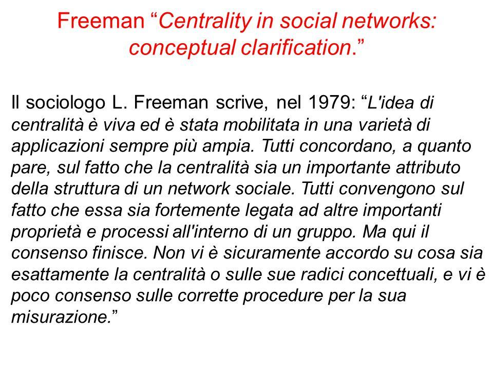 """Freeman """"Centrality in social networks: conceptual clarification."""" Il sociologo L. Freeman scrive, nel 1979: """" L'idea di centralità è viva ed è stata"""