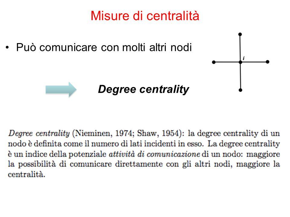 Può comunicare con molti altri nodi Misure di centralità Degree centrality