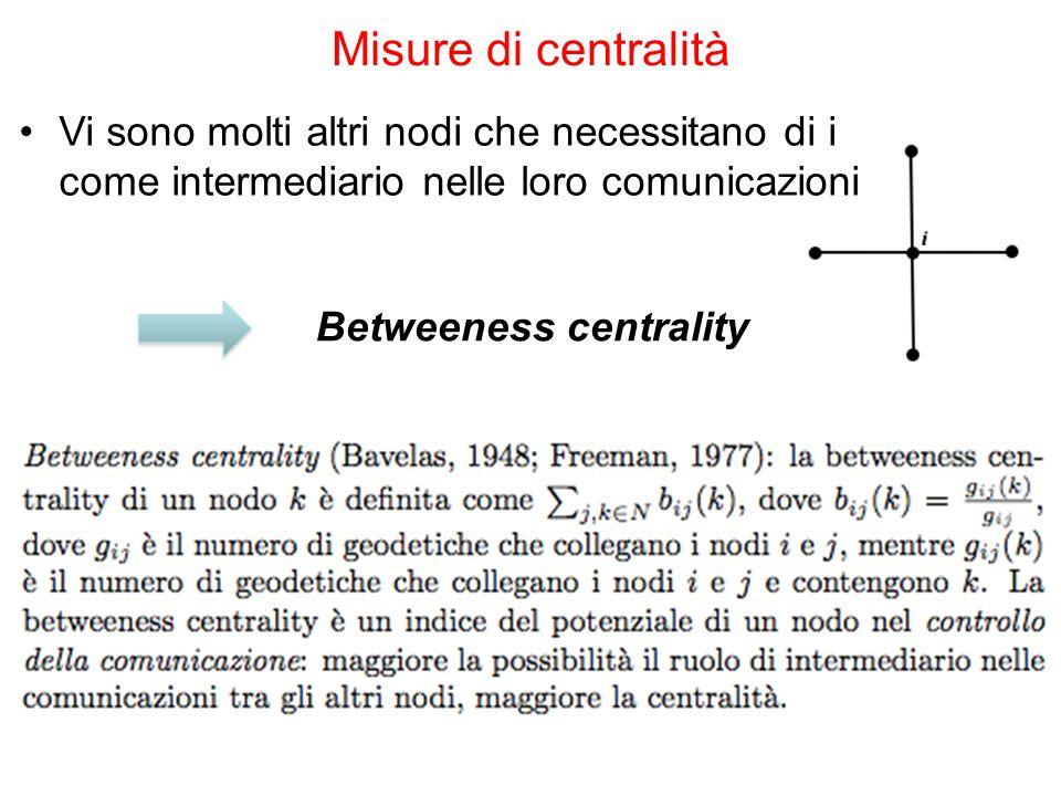 Vi sono molti altri nodi che necessitano di i come intermediario nelle loro comunicazioni Misure di centralità Betweeness centrality