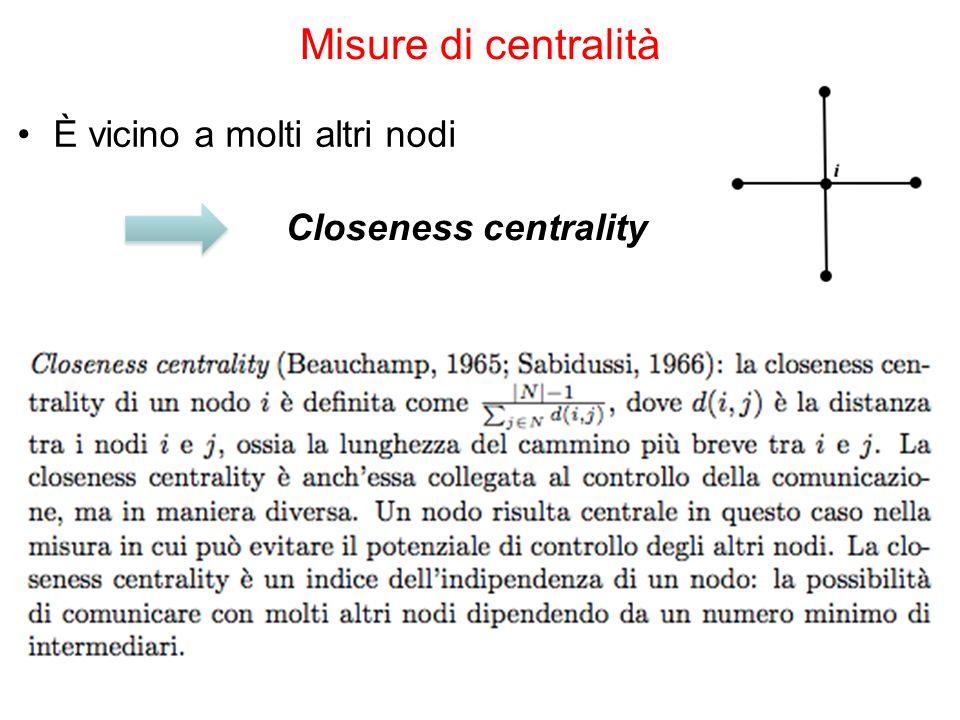 È vicino a molti altri nodi Misure di centralità Closeness centrality