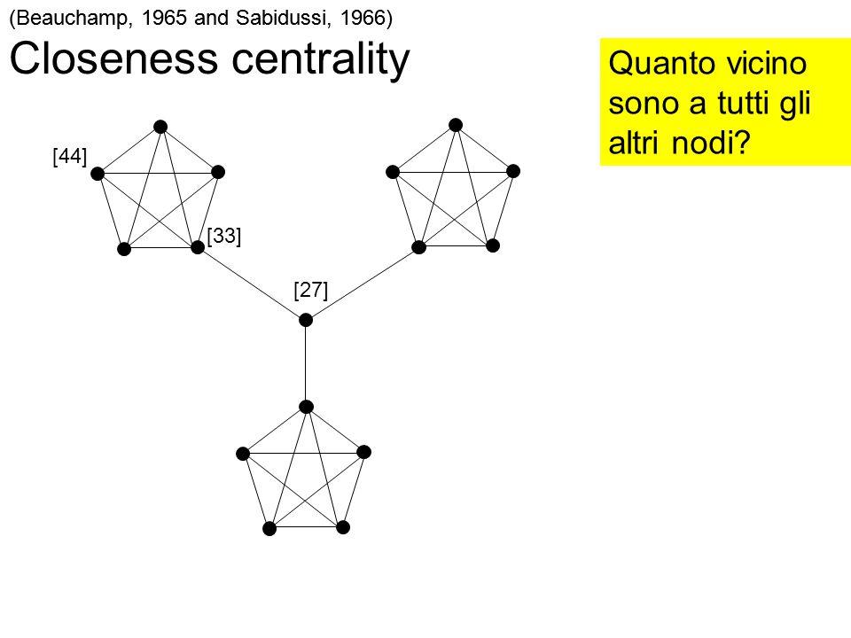 (Beauchamp, 1965 and Sabidussi, 1966) Closeness centrality Quanto vicino sono a tutti gli altri nodi? [27] [44] (Beauchamp, 1965 and Sabidussi, 1966)