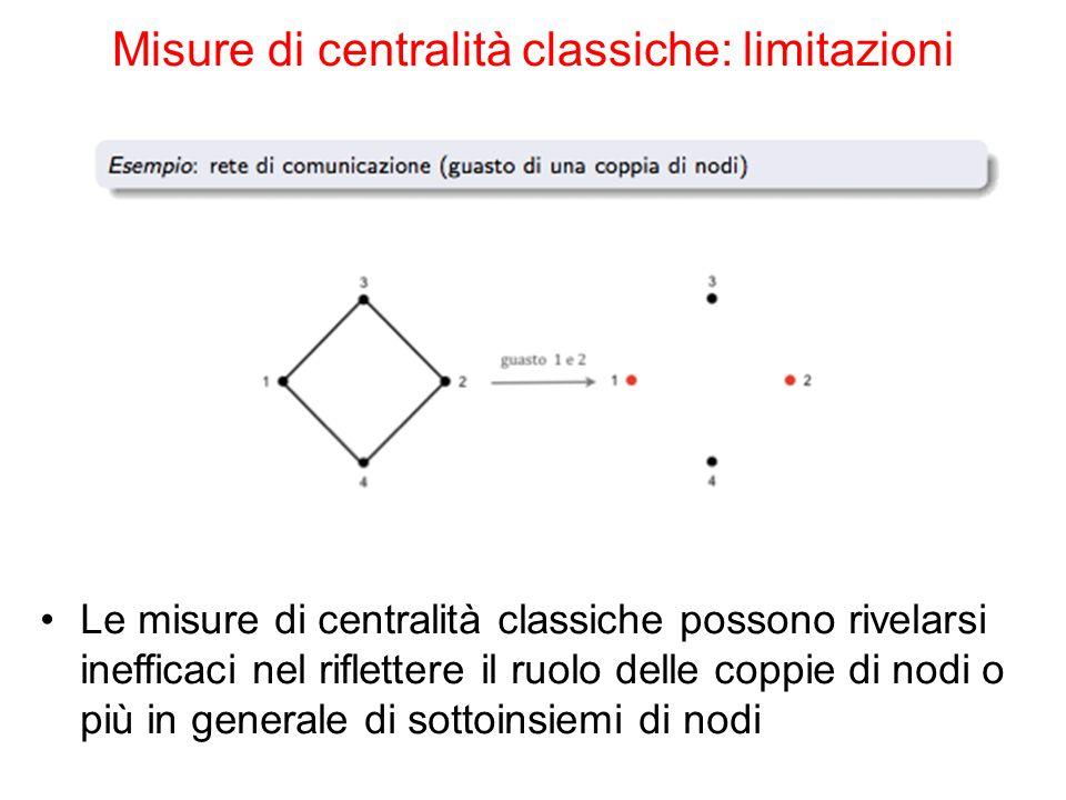 Le misure di centralità classiche possono rivelarsi inefficaci nel riflettere il ruolo delle coppie di nodi o più in generale di sottoinsiemi di nodi