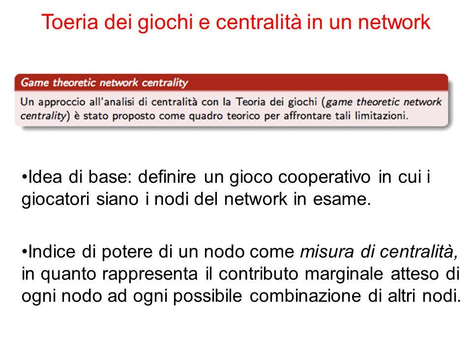 Idea di base: definire un gioco cooperativo in cui i giocatori siano i nodi del network in esame. Indice di potere di un nodo come misura di centralit
