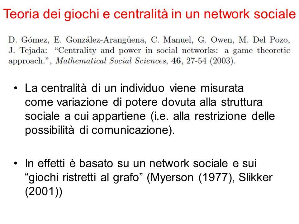 La centralità di un individuo viene misurata come variazione di potere dovuta alla struttura sociale a cui appartiene (i.e. alla restrizione delle pos