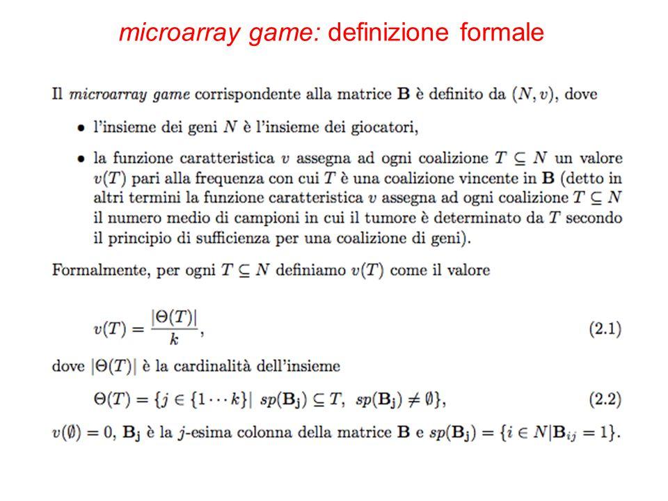 microarray game: definizione formale